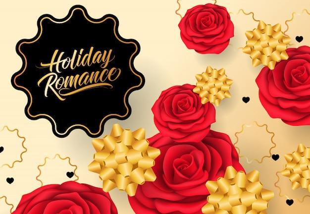 Vacaciones romance letras en marco negro