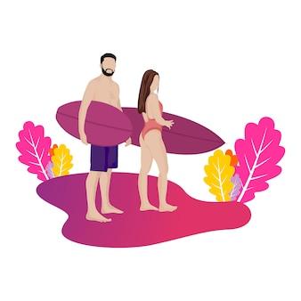Vacaciones de surf con hombre y mujer en la playa