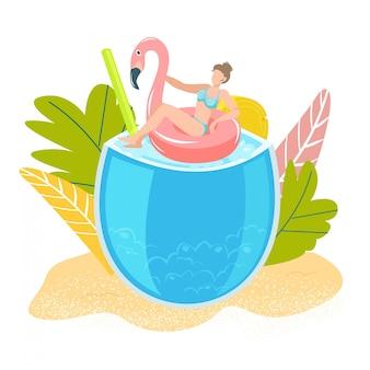 Vacaciones tropicales de verano, niña en el mar nadando en flamenco de goma, concepto de bar de playa de vacaciones en el mar aislado en blanco ilustración plana con cóctel, palmas, paraguas.
