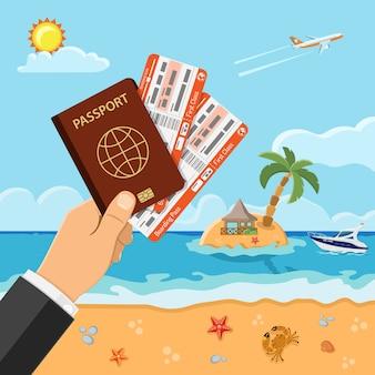 Vacaciones, turismo, concepto de verano con iconos planos para sitio web, publicidad como mano con pasaporte y boletos de avión, playa, isla, bungalows y palmeras, barco.