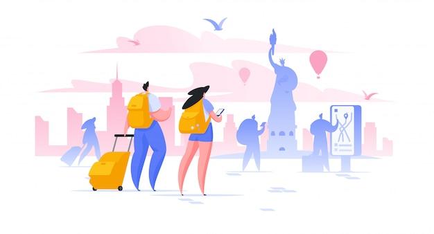 Vacaciones de turismo en nueva york ilustración hombres y mujeres turistas tomando fotos