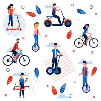 Vacaciones de verano activo de patrones sin fisuras planas. dibujos animados personas personajes montar bicicletas, scooter