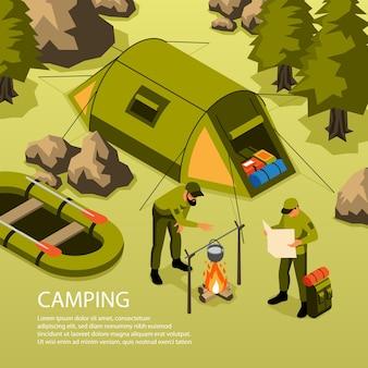 Vacaciones de verano, camping, viaje de supervivencia, aventuras, composición isométrica con carpa, barco, fogata, cocinando en el bosque