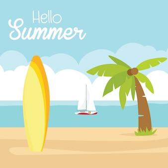 En vacaciones de verano, cartel de felices vacaciones de verano. playa tabla de surf barco sol mar