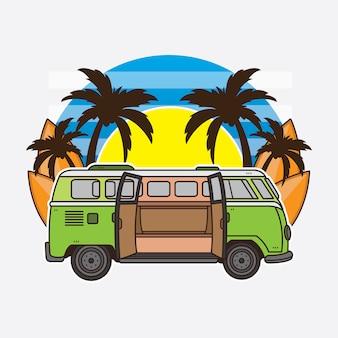 Vacaciones de verano en coche y tabla de surf.