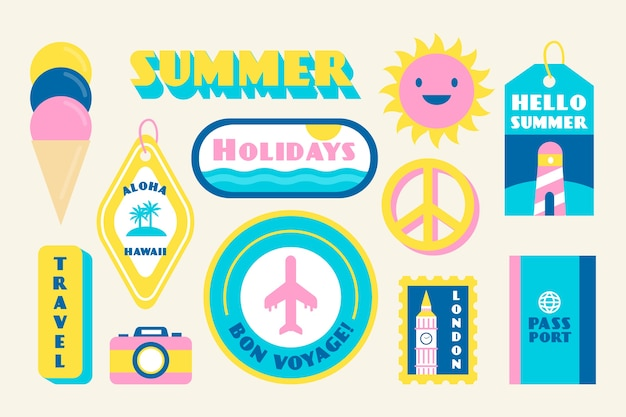 Vacaciones en verano colección de pegatinas