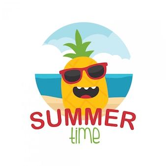 En vacaciones de verano dibujos animados de piña lindo y letras de mano de horario de verano