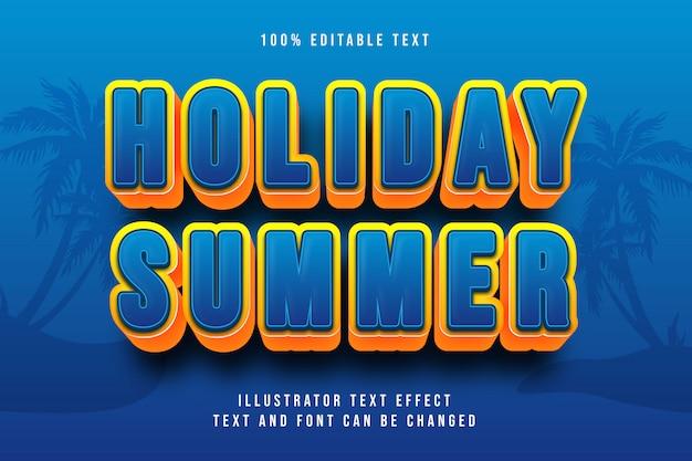 Vacaciones de verano, efecto de texto editable 3d gradación amarilla naranja azul estilo moderno sombra