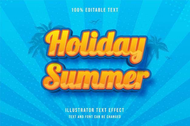 Vacaciones de verano, efecto de texto editable en 3d, gradación amarilla, patrón naranja, estilo moderno de sombra