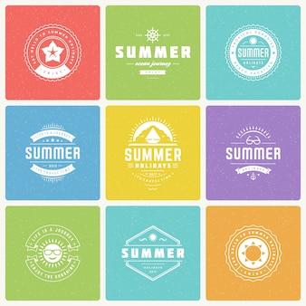 Vacaciones de verano elementos de diseño y tipografía conjunto de vectores.