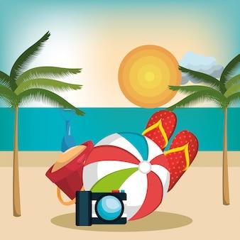 Vacaciones de verano establecer iconos