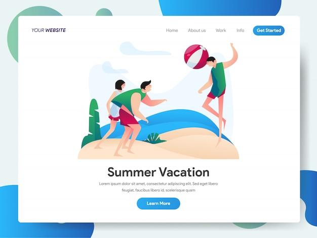 Vacaciones de verano con un grupo de personas jugando al banner de pelota de playa para la página de inicio