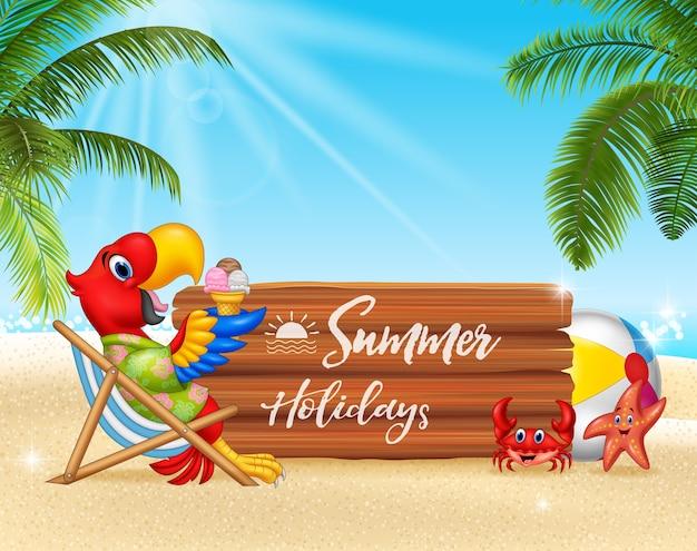 Vacaciones de verano con guacamayo relajante en la playa