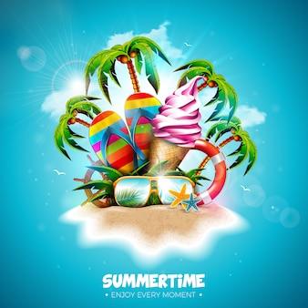 Vacaciones de verano con helado