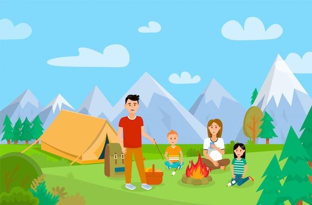 Vacaciones de verano en la ilustración de dibujos animados de la naturaleza.