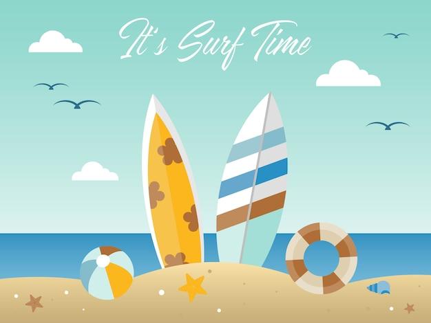 Vacaciones de verano, ilustración de playa de verano