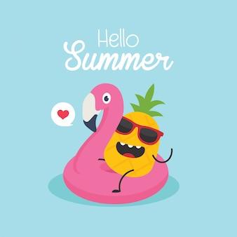 En vacaciones de verano, ilustración vectorial, flamenco inflable con una piña en una piscina.
