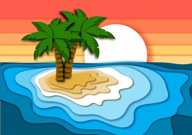 Vacaciones de verano con isla tropical en papel cortado.