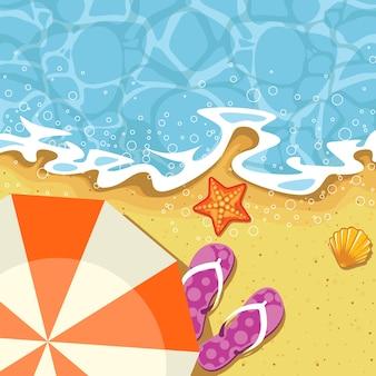 Vacaciones de verano junto al mar - sombrilla, enviar y saludar