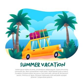 Vacaciones de verano con un lindo auto amarillo