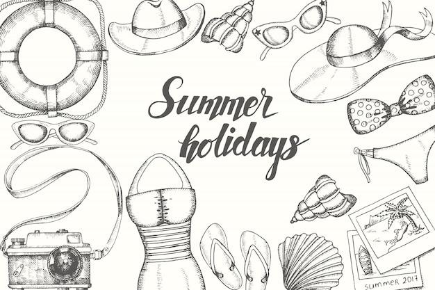 Vacaciones de verano con mano dibujado doodle objetos vintage. escrito a mano