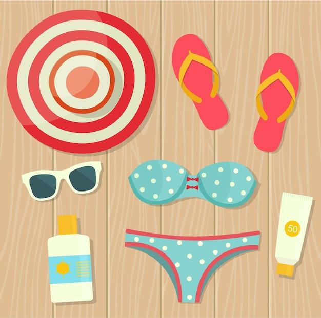 Vacaciones de verano. objetos sobre fondo de madera. vista superior. vector ilustración plana.