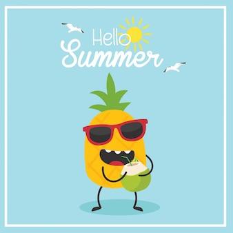 En vacaciones de verano, piña con coco. hola verano