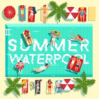 Vacaciones de verano piscina plana cartel