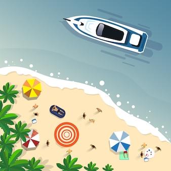 Vacaciones de verano en la playa con arena en la isla tropical banner de vacaciones