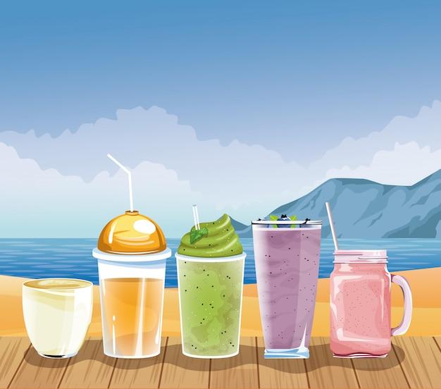 Vacaciones de verano y playa en estilo de dibujos animados.