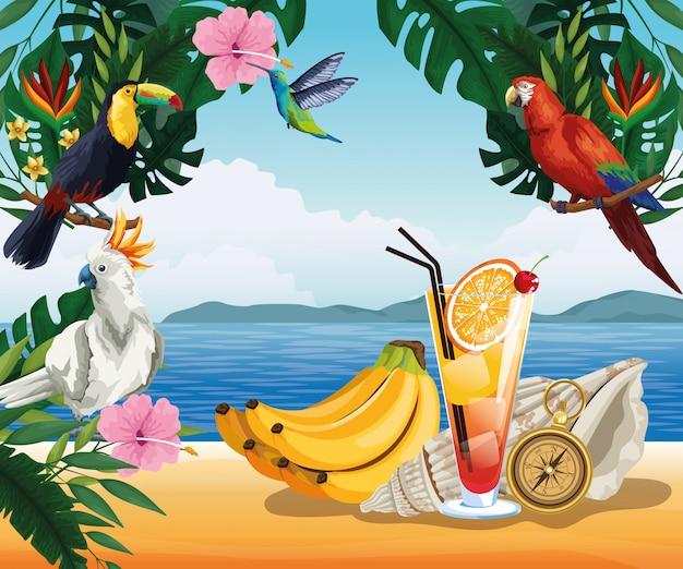 Vacaciones de verano y playa en estilo de dibujos animados
