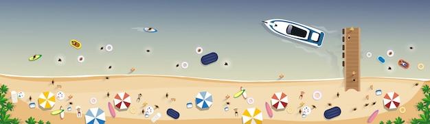 Vacaciones de verano en la playa set sand tropical holiday banner