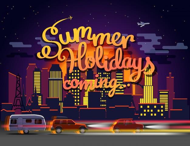 Vacaciones de verano que vienen ilustración vectorial