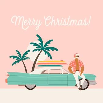 Vacaciones de verano con santa claus y coche.