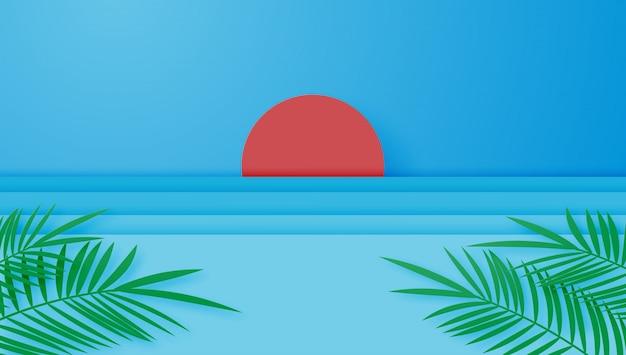Vacaciones de verano con el sol, el mar y las hojas de palma en papel cortado estilo. arte digital en papel artesanal y minimalista.