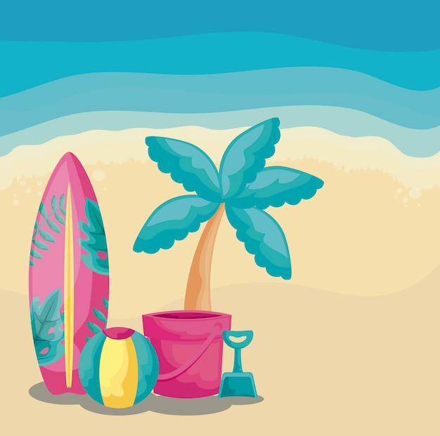 Vacaciones de verano con tabla de surf e íconos