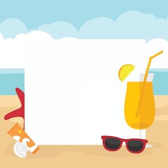 En vacaciones de verano tarjeta de horario de playa.