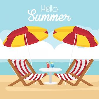 En vacaciones de verano, tema de verano con atributos de verano.