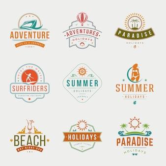 Vacaciones de verano tipografía etiquetas o insignias vector de diseño