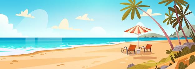 Vacaciones de verano tumbonas en el mar playa paisaje hermoso paisaje marino banner mar vacaciones