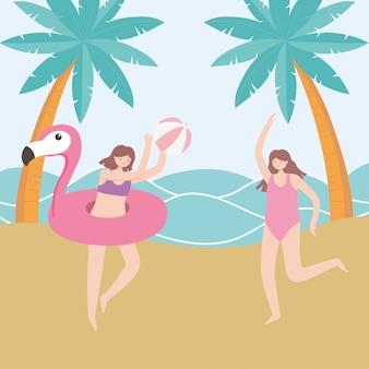 Vacaciones de verano turismo niñas con pelota de playa y flamenco flotador ilustración