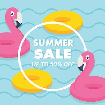 En vacaciones de verano, venta de verano banner juguetes de piscina lindos