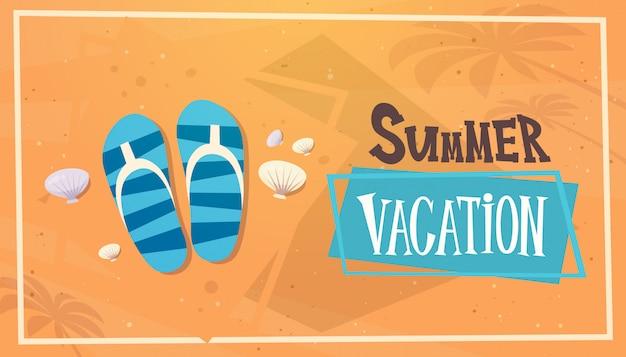 Vacaciones de verano viaje por mar banner retro vacaciones en la playa