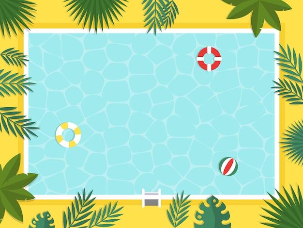 Vacaciones de verano, vista superior piscina vector