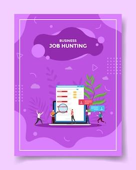 Vacante de lupa de personas concepto de búsqueda de trabajo en portátil