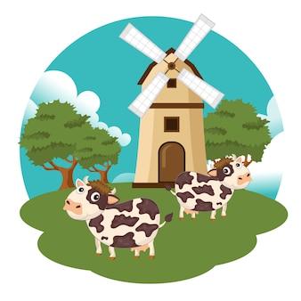 Vacas en la escena de la granja