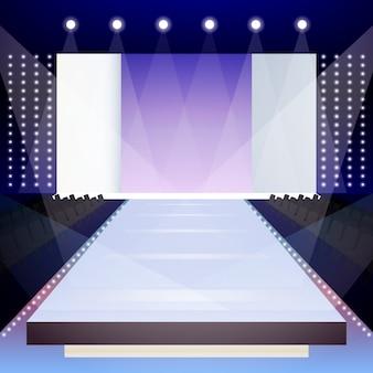 Vaciar escena de la pista de moda iluminada diseñador de la presentación de la ilustración vectorial cartel