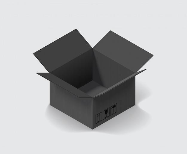 Vacie la caja de cartón coloreada negra abierta aislada en la ilustración isométrica blanca del vector