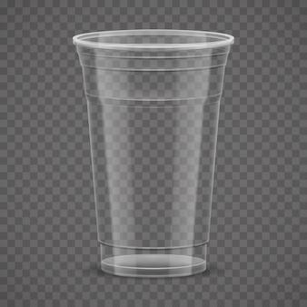 Vacíe la taza para llevar plástica transparente aislada