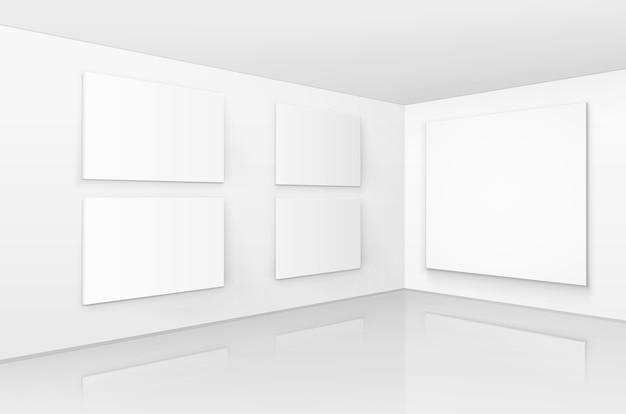 Vacío blanco en blanco mock up carteles cuadros marcos